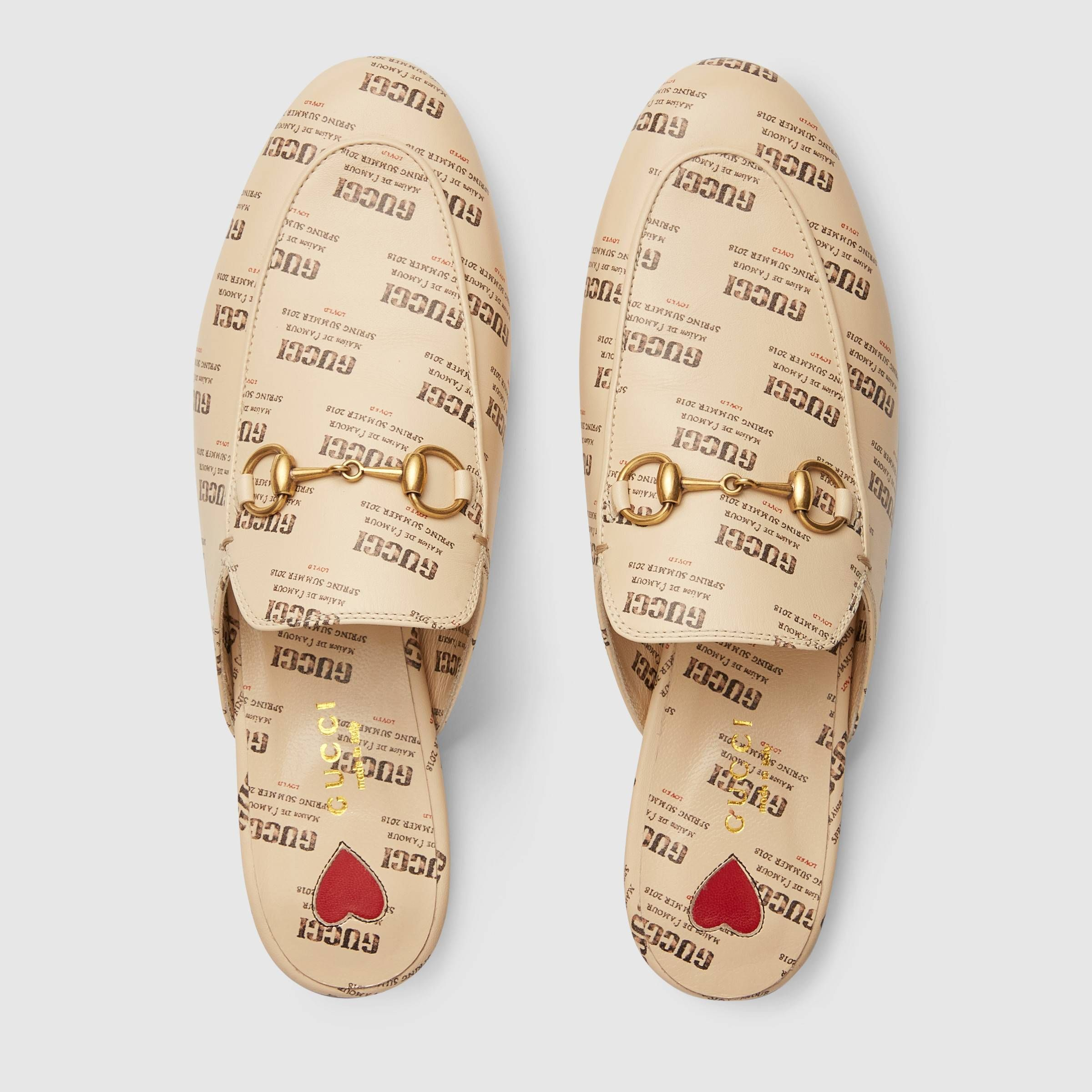 d1a03691026 Princetown Gucci invite print leather slipper   890