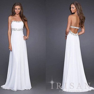 New White Ivory Chiffon Backless Sleeveless Long Prom Military Gown ...