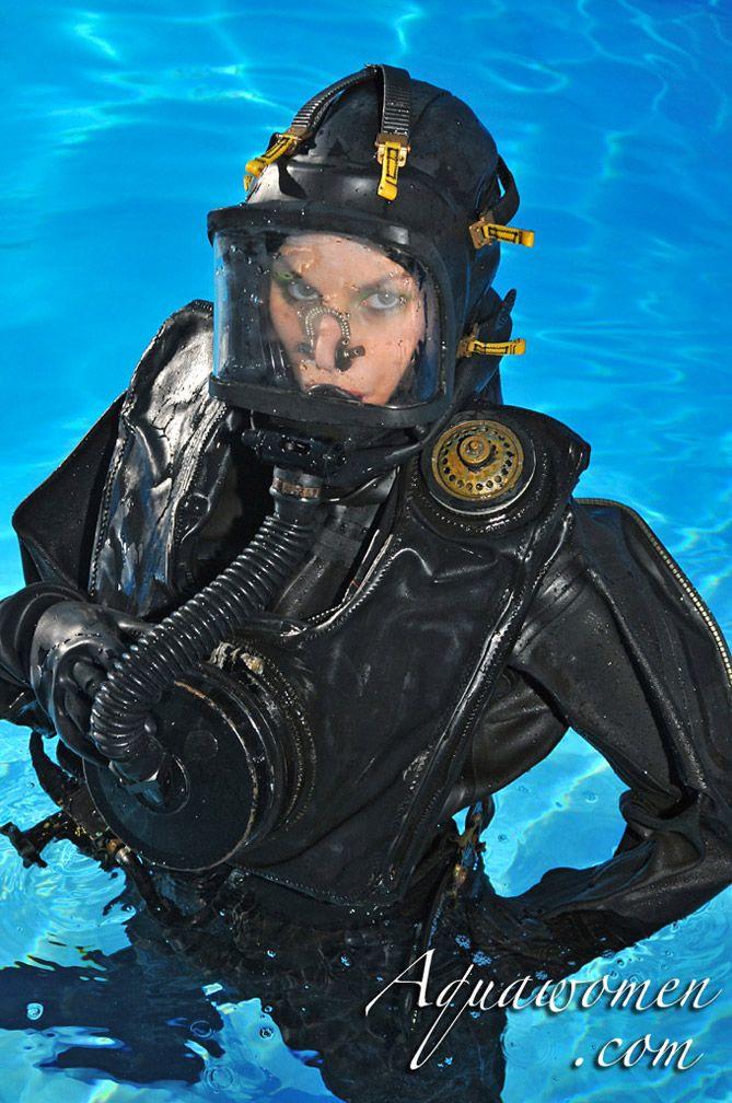Underwater latex women