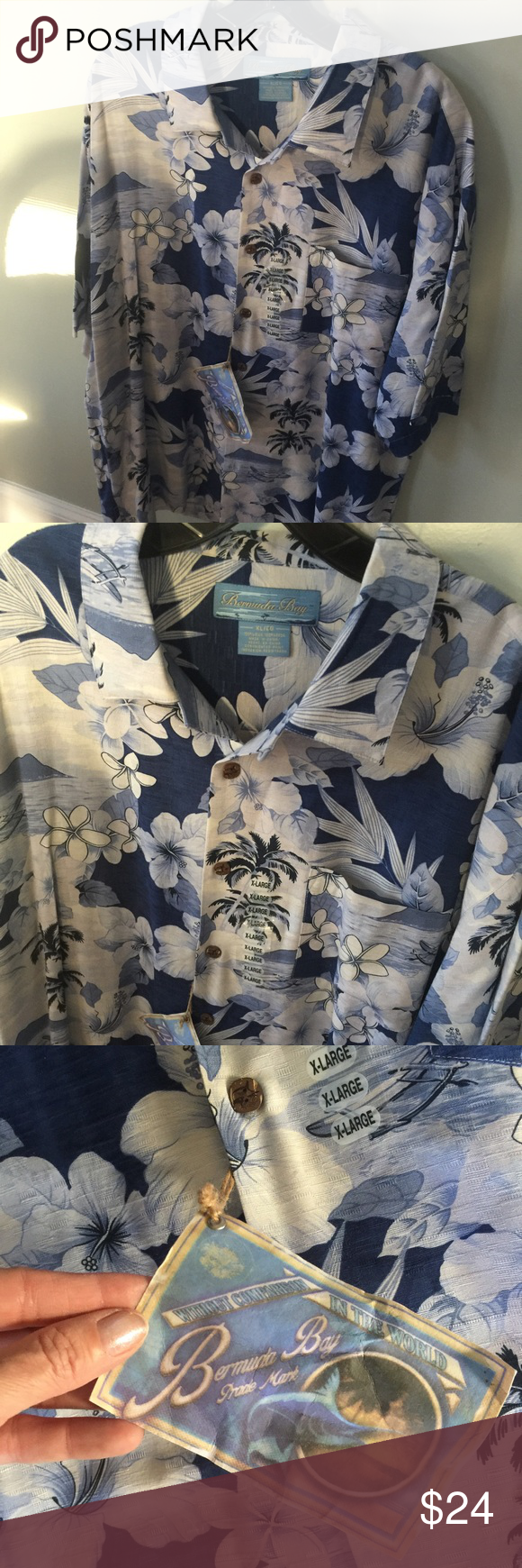 NWT Bermuda Bay Button up men's Shirt NWT men's button up shirt by Bermuda Bay,Sz XL.Nice quality. bermuda bay Shirts Casual Button Down Shirts