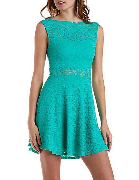 City Studios Juniors\' Lace Mock-Neck Fit & Flare Dress | Mock neck ...