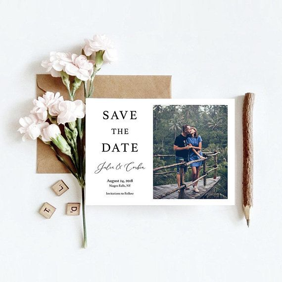 Custom Photo Script Wedding Save The Date Engagement Etsy Engagement Announcement Cards Wedding Save The Dates Wedding Saving