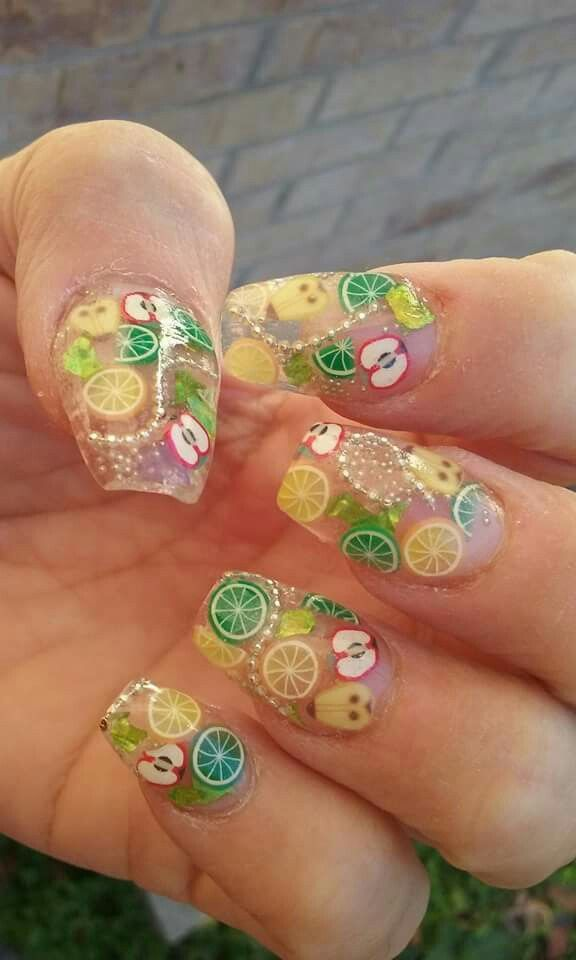 Clear Acrylic With Fimo Fruit And Chains Incapsiladed Fruit Nail Art Fruit Nail Designs Cute Acrylic Nails