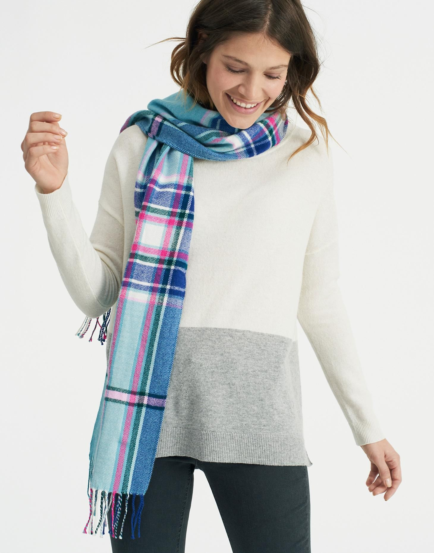 Bracken Soft Teal Check Woven Scarf , Size One Size | Joules UK