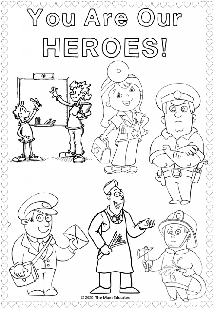 Free Thank You Key Workers Coloring Sheet In 2020 Superhero Coloring Pages Coloring Sheets Superhero Coloring