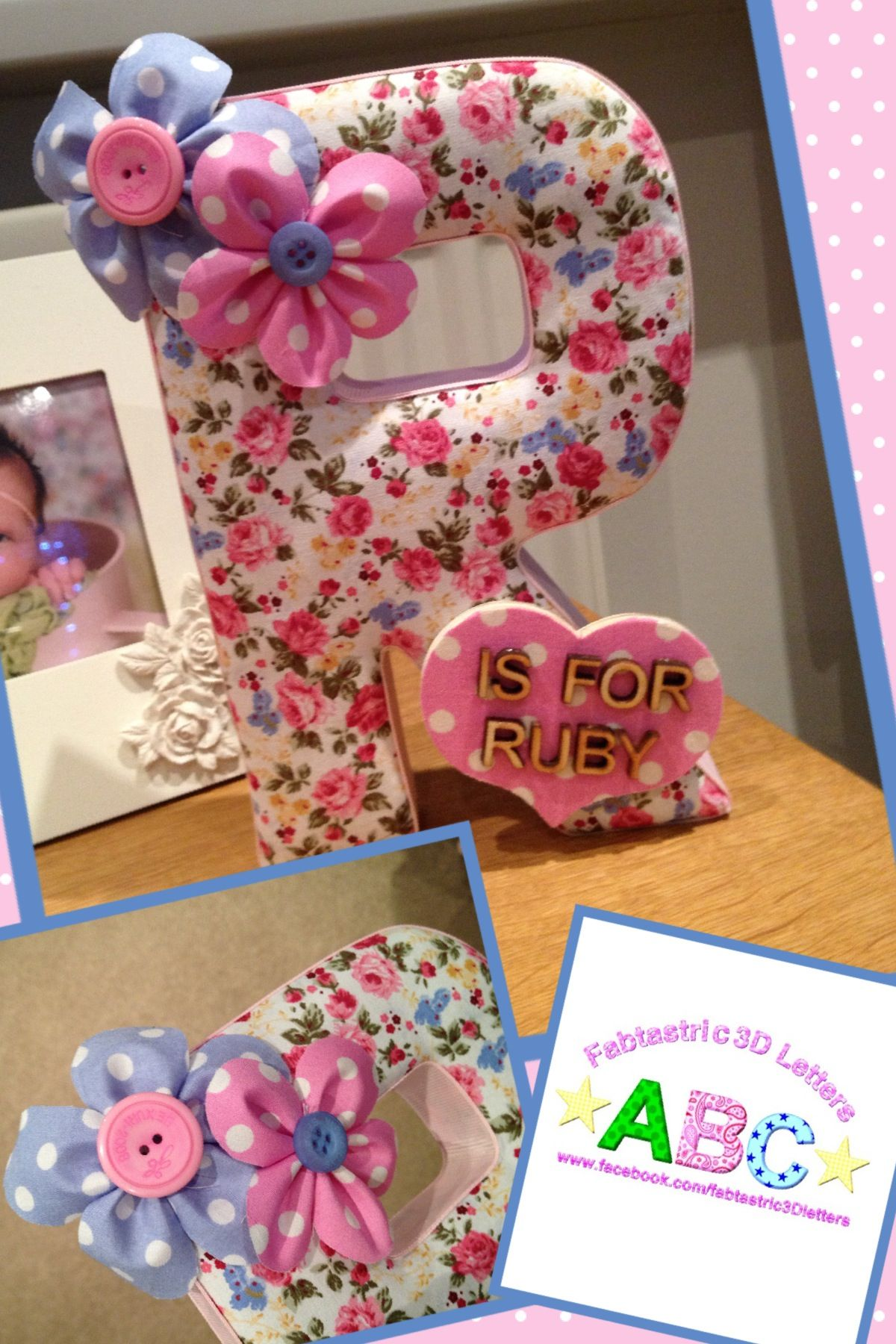 Fabric covered 3D wall letter  Girly, ditsy floral print
