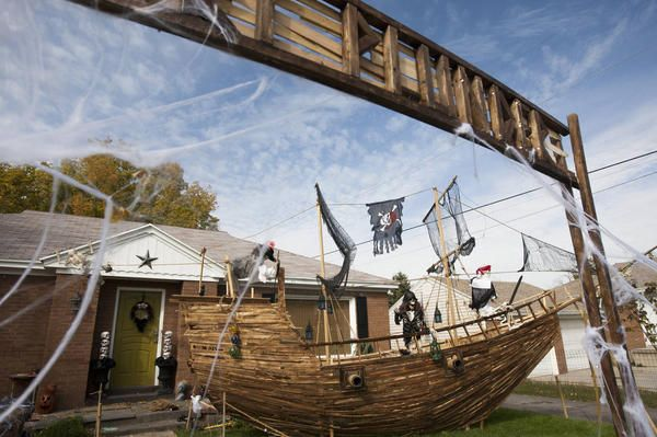 A Pirate Ship Built By Ammon Smith Sits In His Front Yard In