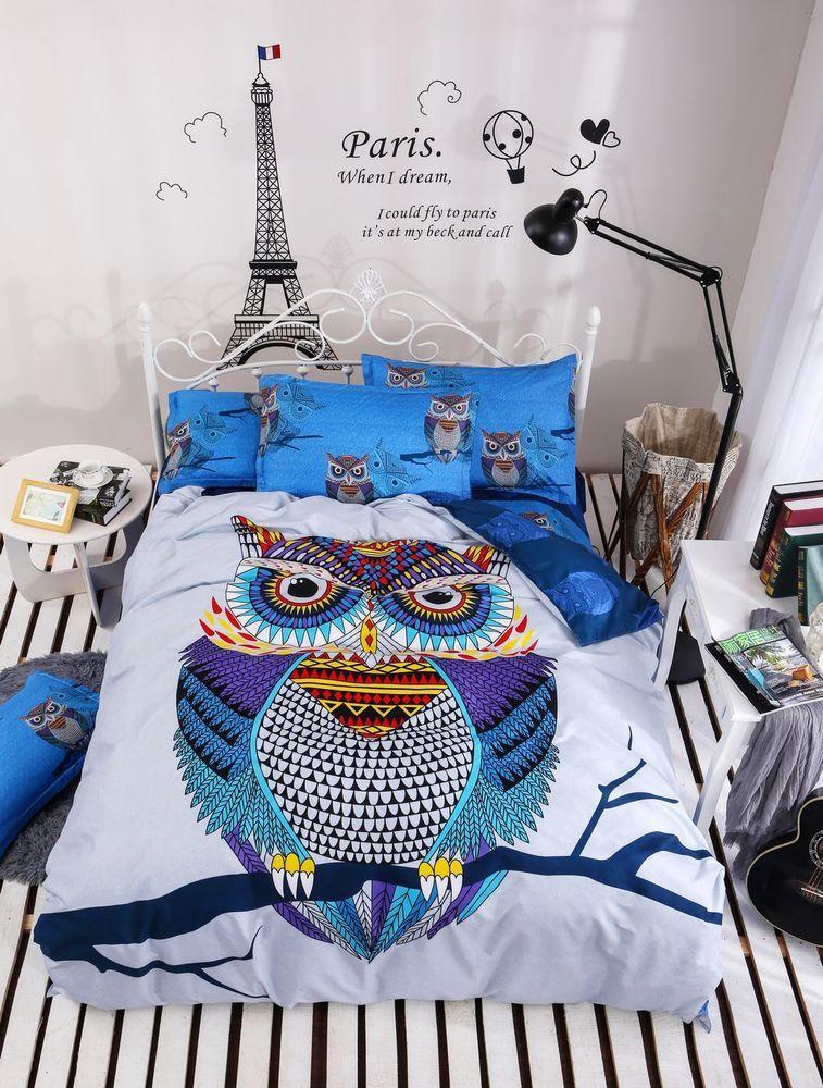 Twin Queen Bett Set Kissenbezug Bettbezug Bettbezug Elegant Owl