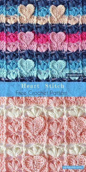 Hearts Stitch Free Crochet Pattern | Häkelmuster, Häckeln und ...