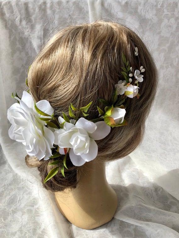 White Flowerbridal Hair Clipgardeniasnow Whitetraditional Etsy White Bridal Hair Flowers White Flower Hair Piece Bridal Hair Clip