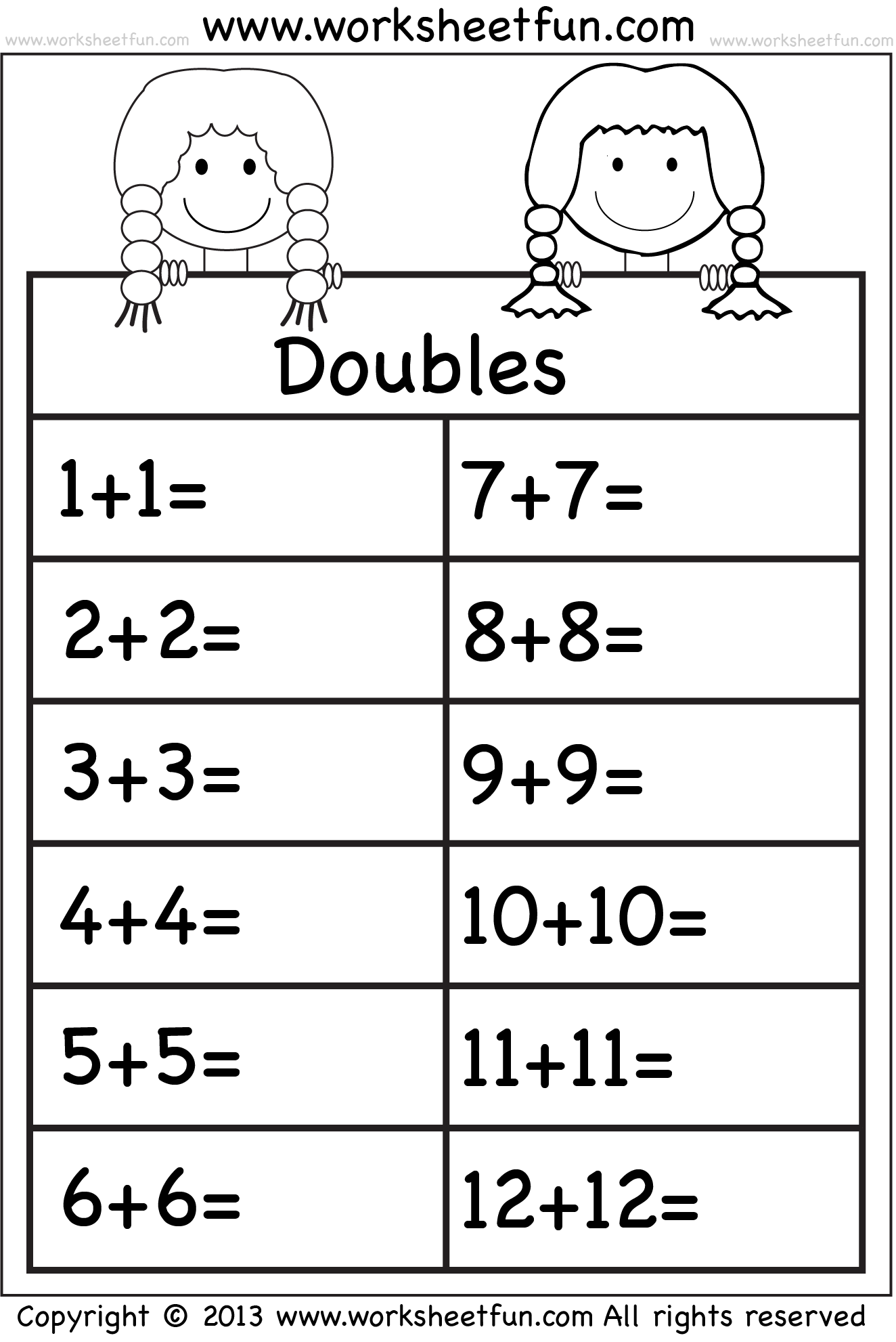 worksheet Doubles Facts Worksheet addition doubles mathematics pinterest math worksheets and doubles