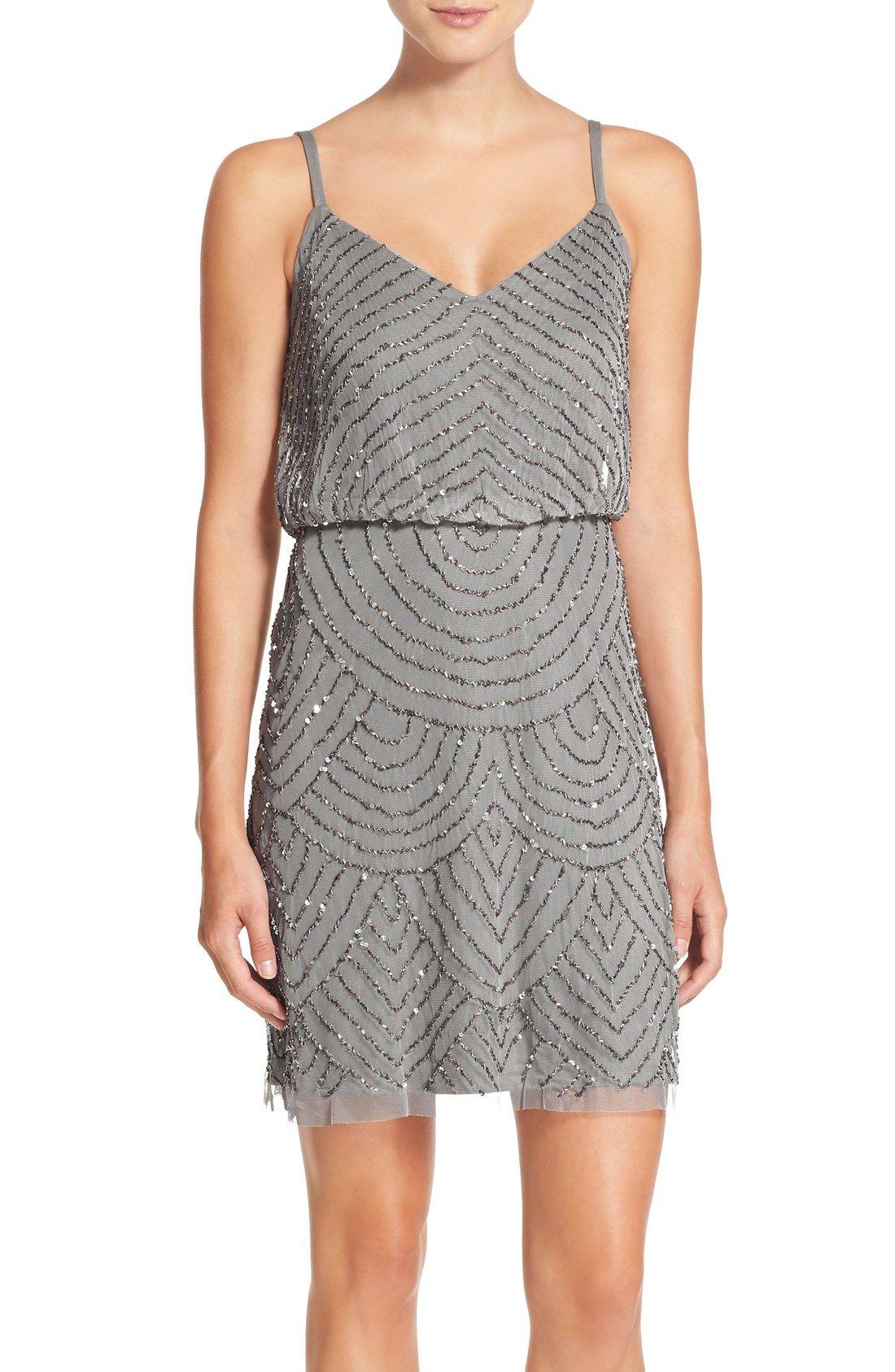 88f4b01b481 Adrianna Papell Sequin Mesh Blouson Dress (Regular   Petite ...