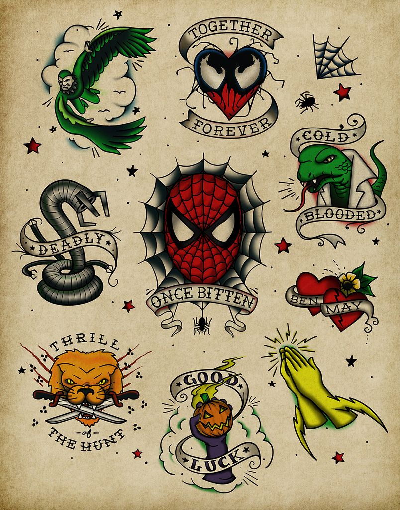 spiderman vintage tattoo flash sheet andy pitts for the threadless loves spiderman design. Black Bedroom Furniture Sets. Home Design Ideas