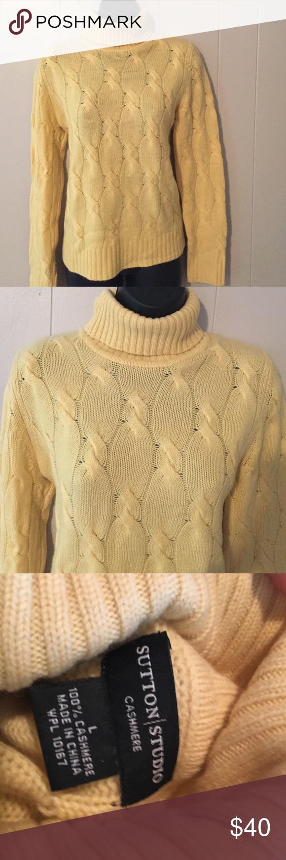 100% Cashmere Turtleneck Cable Knit Sweater NWOT. Sutton Studio ...