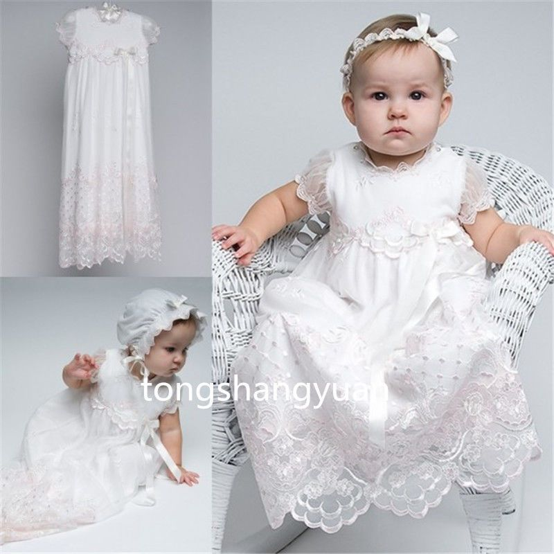 2017 Baby Baptism Gowns Lace First Communion Dresses White Ivory + ...