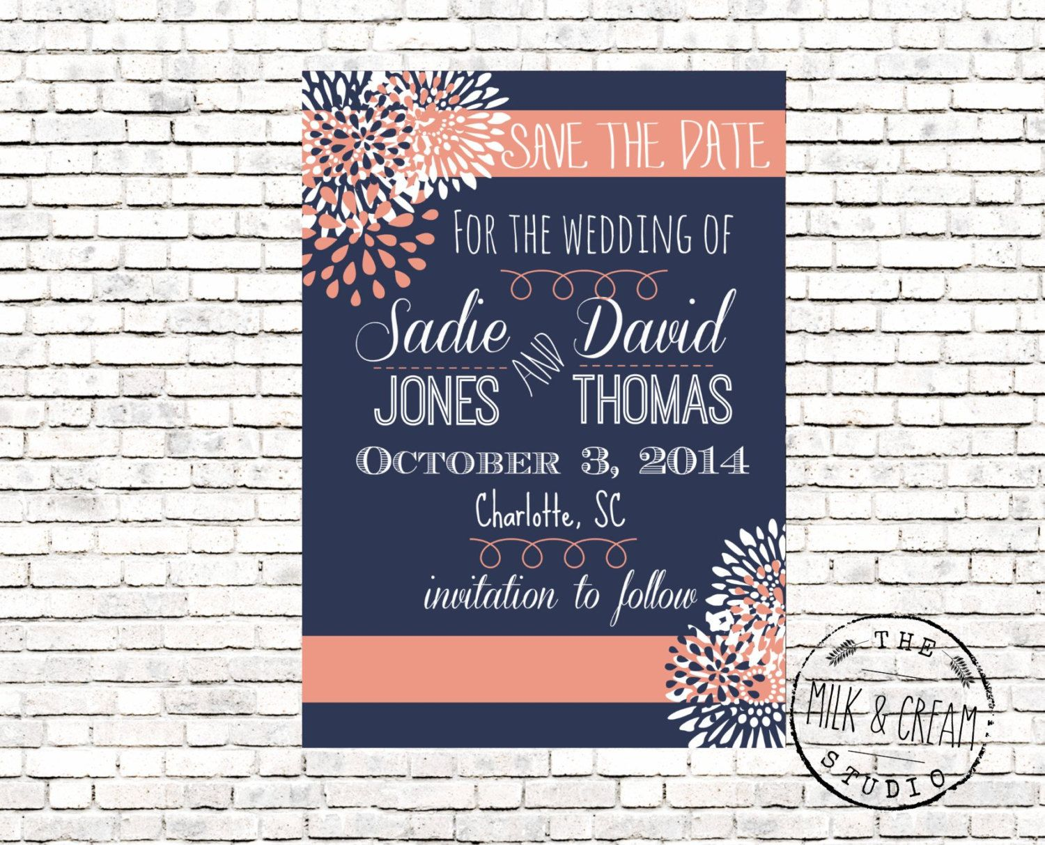 Save The Date Navy Blue And Coral Flower Digital File