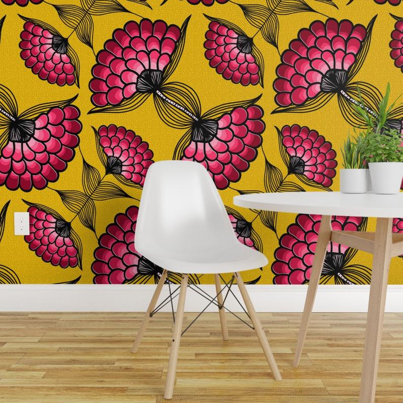 African Wallpaper African Art Cloth By Thewellingtonboot Etsy Floral Wallpaper Removable Wallpaper Decor