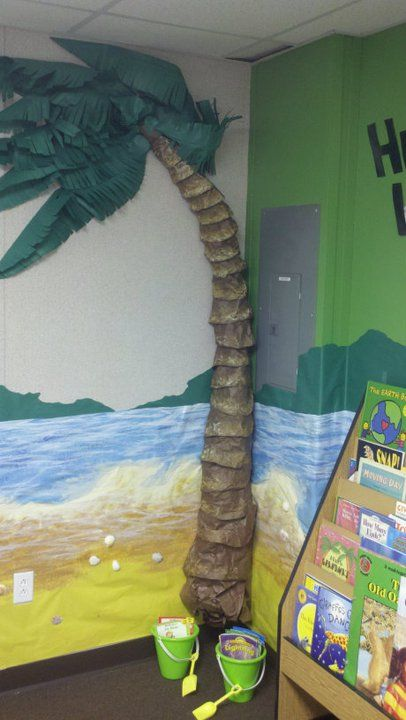 Palm Tree Created With Butcher Paper And Paint Kool