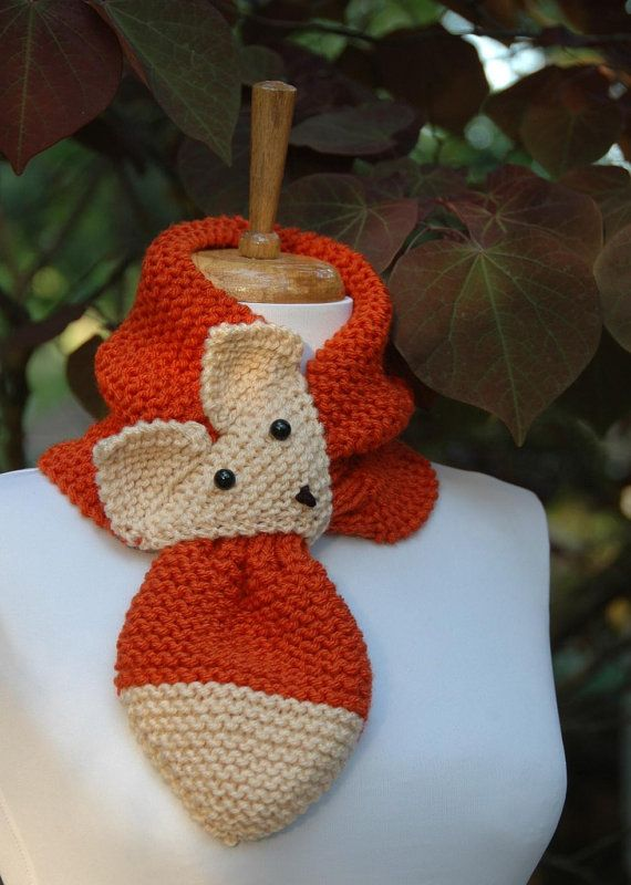Golden Brown Knit Fox Scarf - Novelty Animal Keyhole Scarf ...