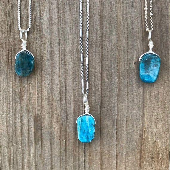 Photo of Chakra Jewelry / Apatite / Dainty Apatite / Apatite Necklace / Apatite Pendant / Layer Necklace /