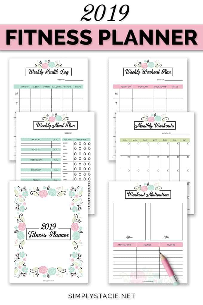 #printable #includes #organize #planner #workout #monthly #fitness #weekly #health #goals #meal #you...