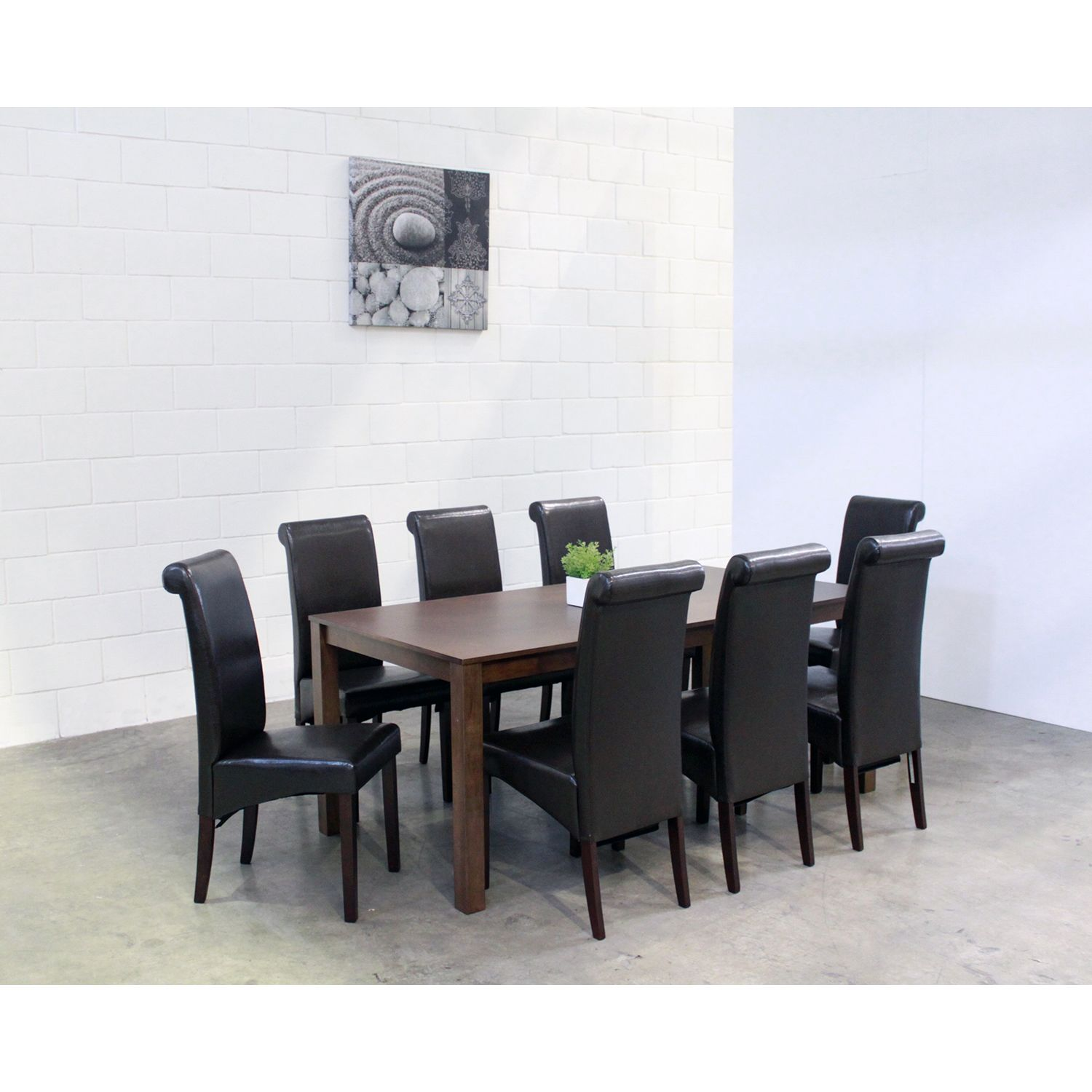 $850/9 Piece Set // Jasmine 9 Piece Brown Dining Set