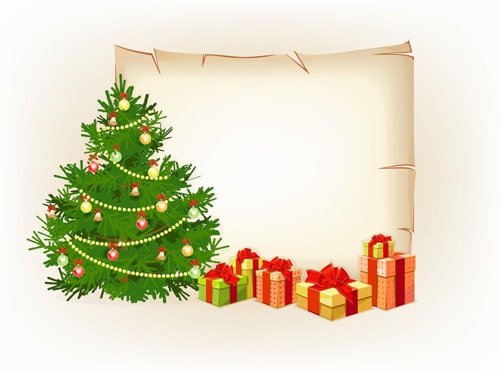 Pinos de navidad con luces esferas y regalos postales for Regalos navidenos caseros