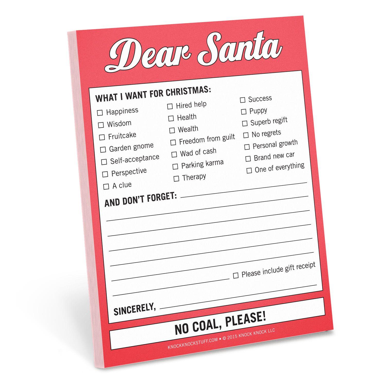 Dear Santa Nifty Notes Dear santa, Memo notepad, Knock knock
