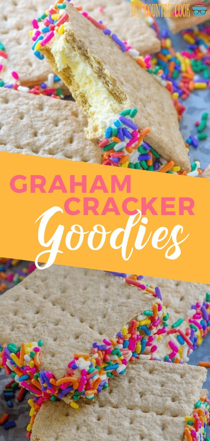 Graham cracker goodies Graham Cracker Goodies are an easy no-bake treat! Graham crackers with a sweet, creamy filling made with whipped topping and instant pudding.
