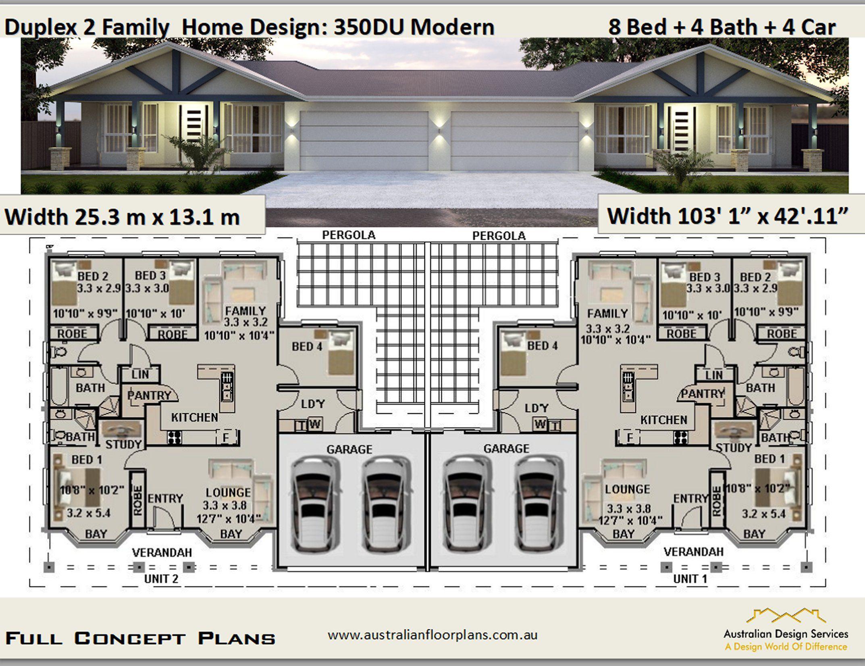 Modern Duplex Design 350 Dumodern 8 Bed 4 Bath 4 Car Garage Duplex Design Duplex Plans House Plans For Sale