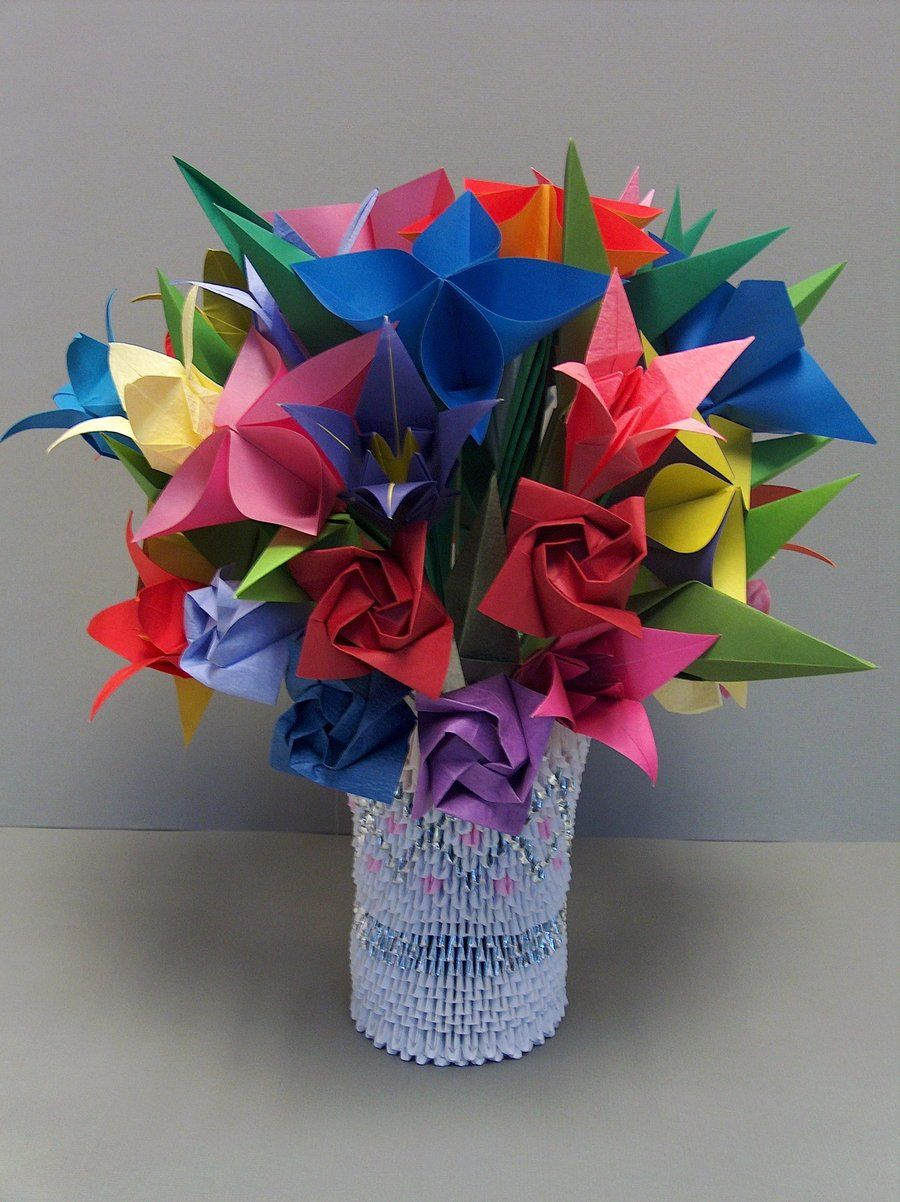 3d origami flowers in vase origami pinterest 3d origami 3d origami flowers in vase mightylinksfo