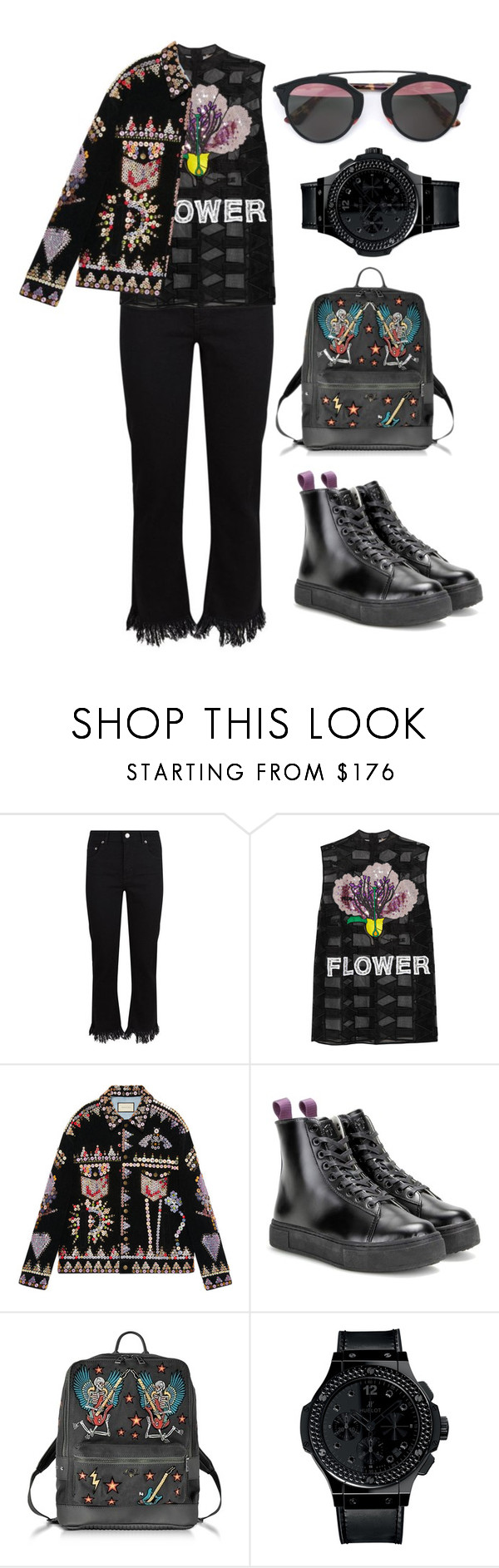 """///"" by lunaashton ❤ liked on Polyvore featuring Maje, Christopher Kane, Gucci, Eytys, Zadig & Voltaire, Hublot and Christian Dior"