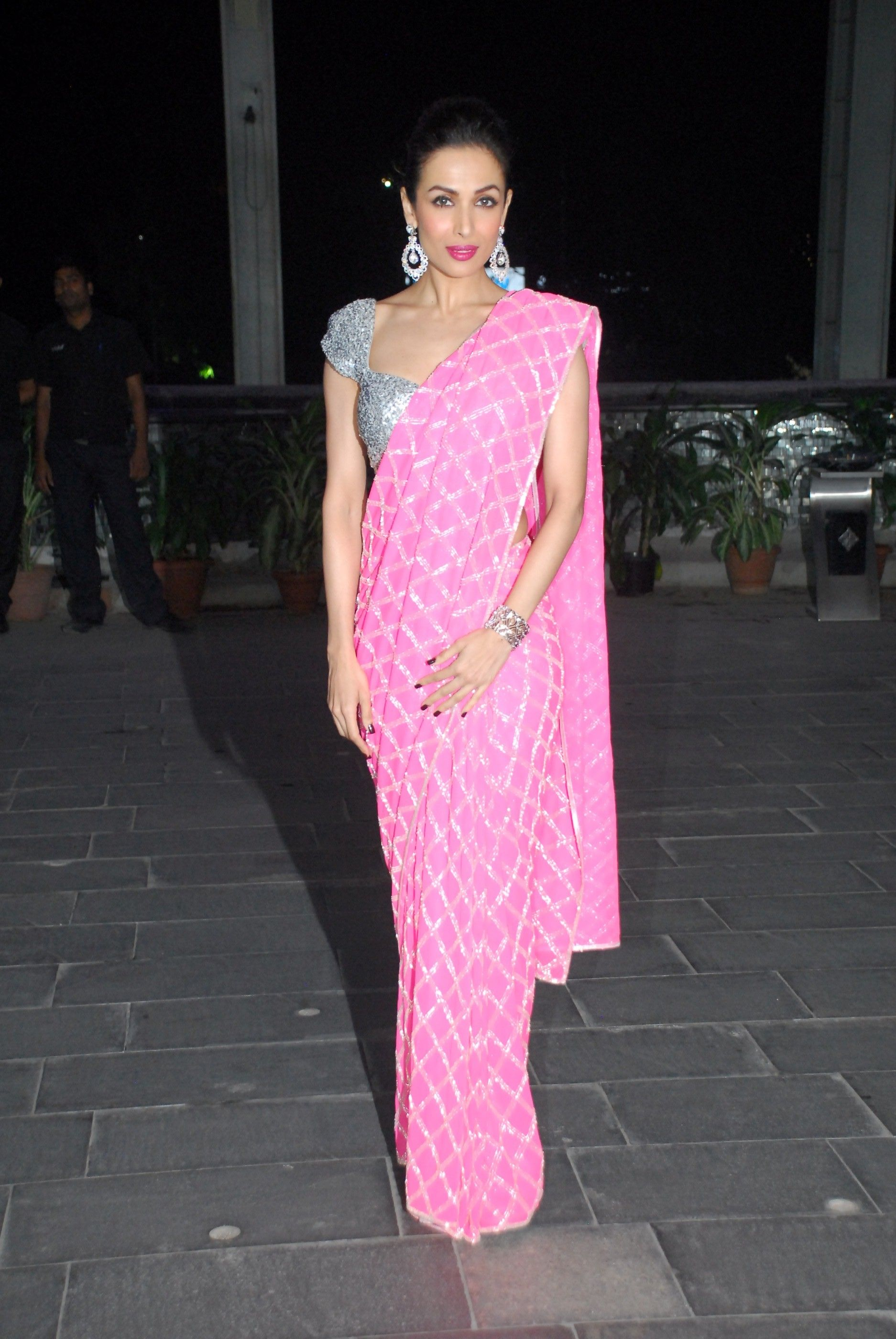 94161e935952b8 Beautiful in Pink & Silver #Saree & Blouse Malaika Arora Khan at Shirin  Morani & Uday Singh Wedding Reception, Dec 21, 14