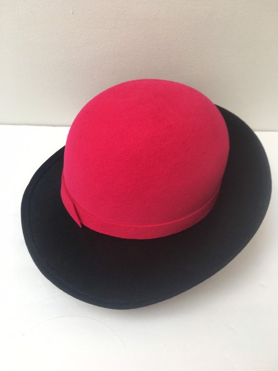 31de65159c9 Importina Hot Pink and Black Felt Bucket Hat 1980s Fashion ...
