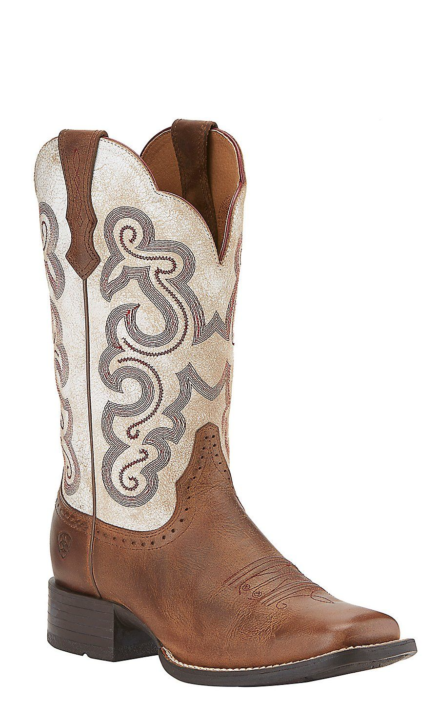 Ariat Quickdraw Women's Sandstorm Brown w/ Distressed White Top ...