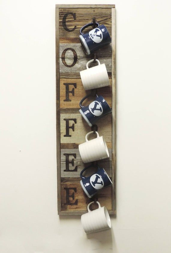 Vertical Barnwood Coffee Mug Rack Wall Mounted, Wooden Hanging Cup Holder, Kitchen Storage for Display. Organizer Hooks, 36.75 X 10.5 #coffeecup