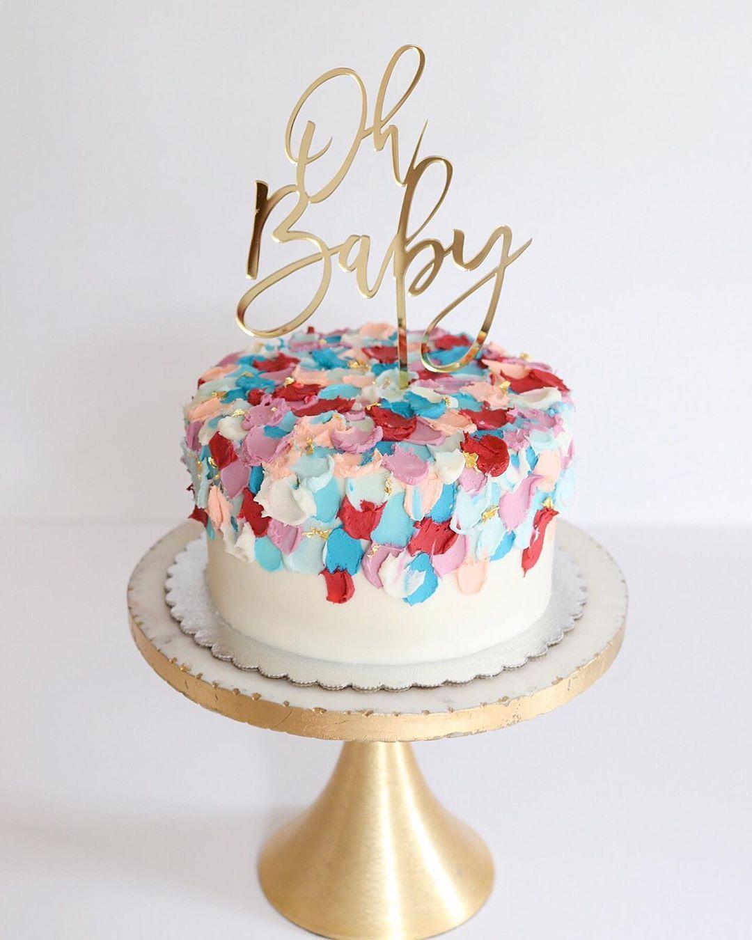 A Sweet Little Modern Gender Reveal Cake Inspired By Sugarandsparrowco Snackyfrench Genderr Gender Reveal Cake Baby Shower Gender Reveal Cake Cake
