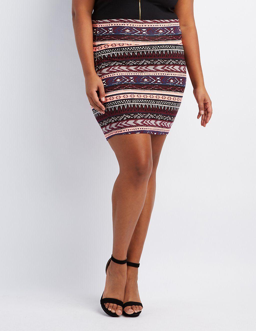 264a1389e7968 Plus Size Printed Bodycon Mini Skirt