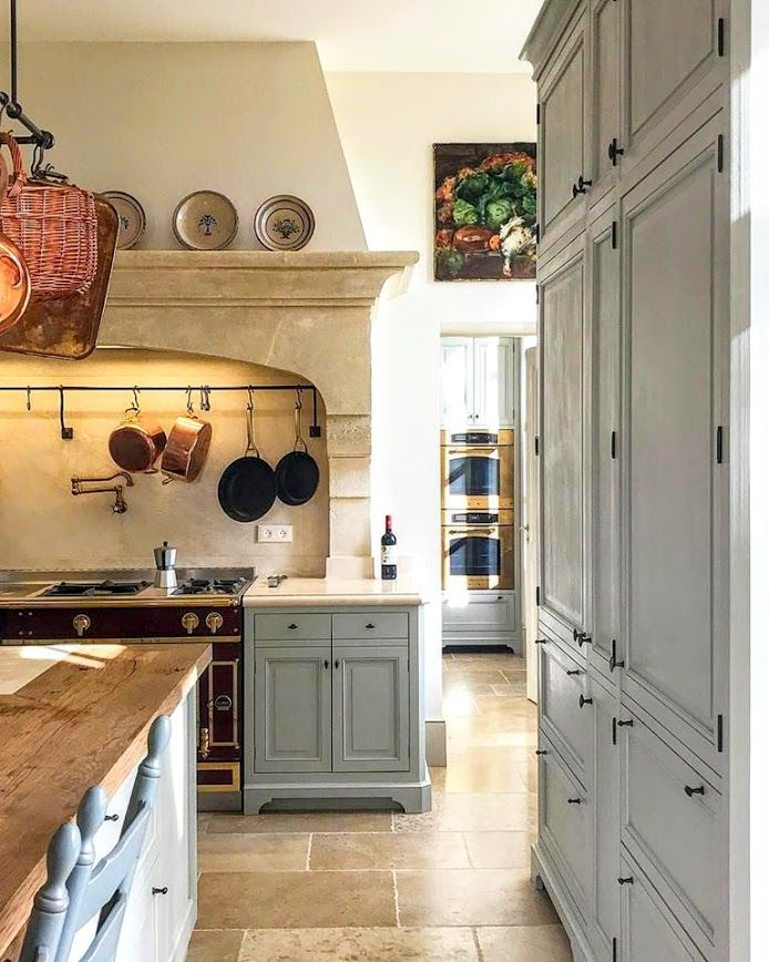 Blue Painted Kitchen Cabinets In French Kitchen In Le Mas De