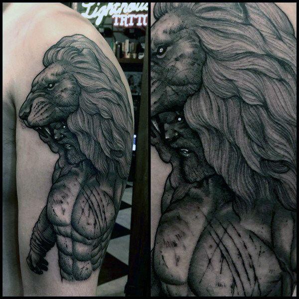 Mens Lion Mythological Hercules Tattoo On Upper Arm Hercules Tattoo Mythology Tattoos Tattoo Designs Men