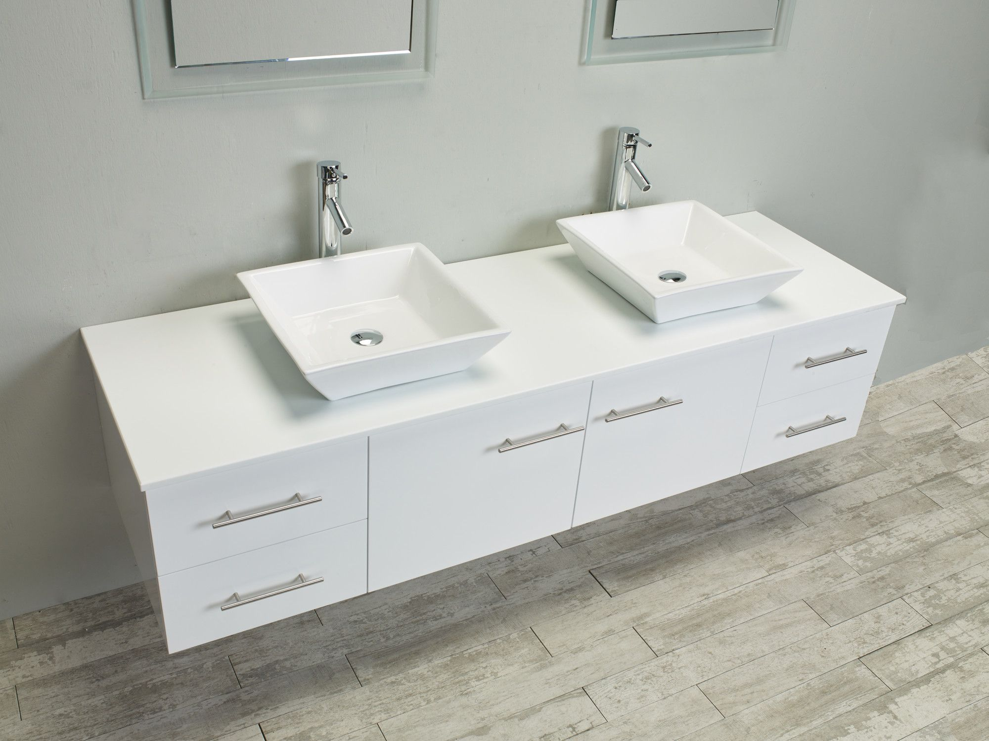 Eviva Totti Wave 60 Inch White Modern Double Sink Bathroom Vanity With Counter Top And Do Double Sink Bathroom Vanity Double Sink Bathroom Bathroom Vanity Tops White double sink vanity 60 inch