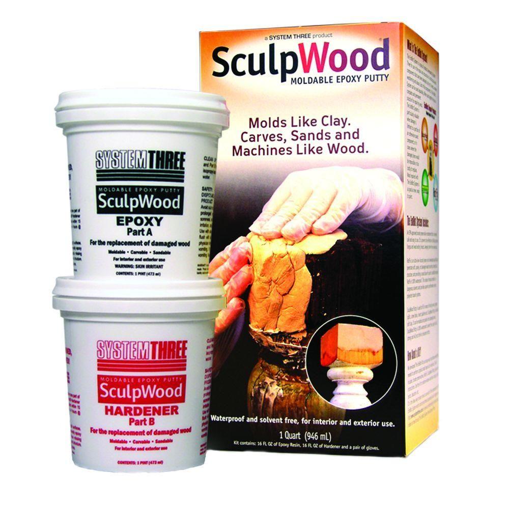 SYSTEM THREE Sculpwood 1 qt  2 Part Epoxy Putty Kit with 16