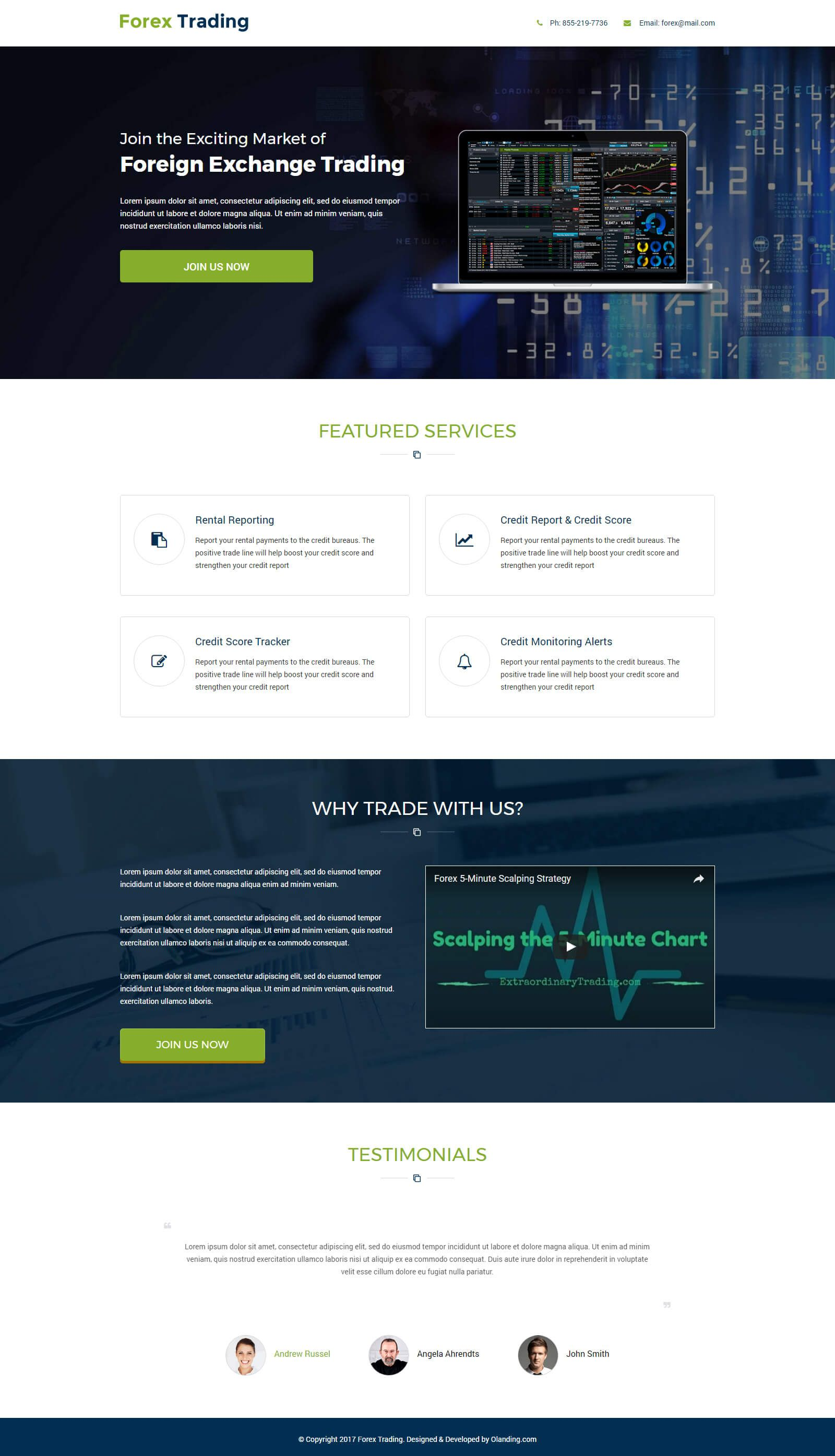 Forex Trading Responsive Landing Page With Free Builder Olanding