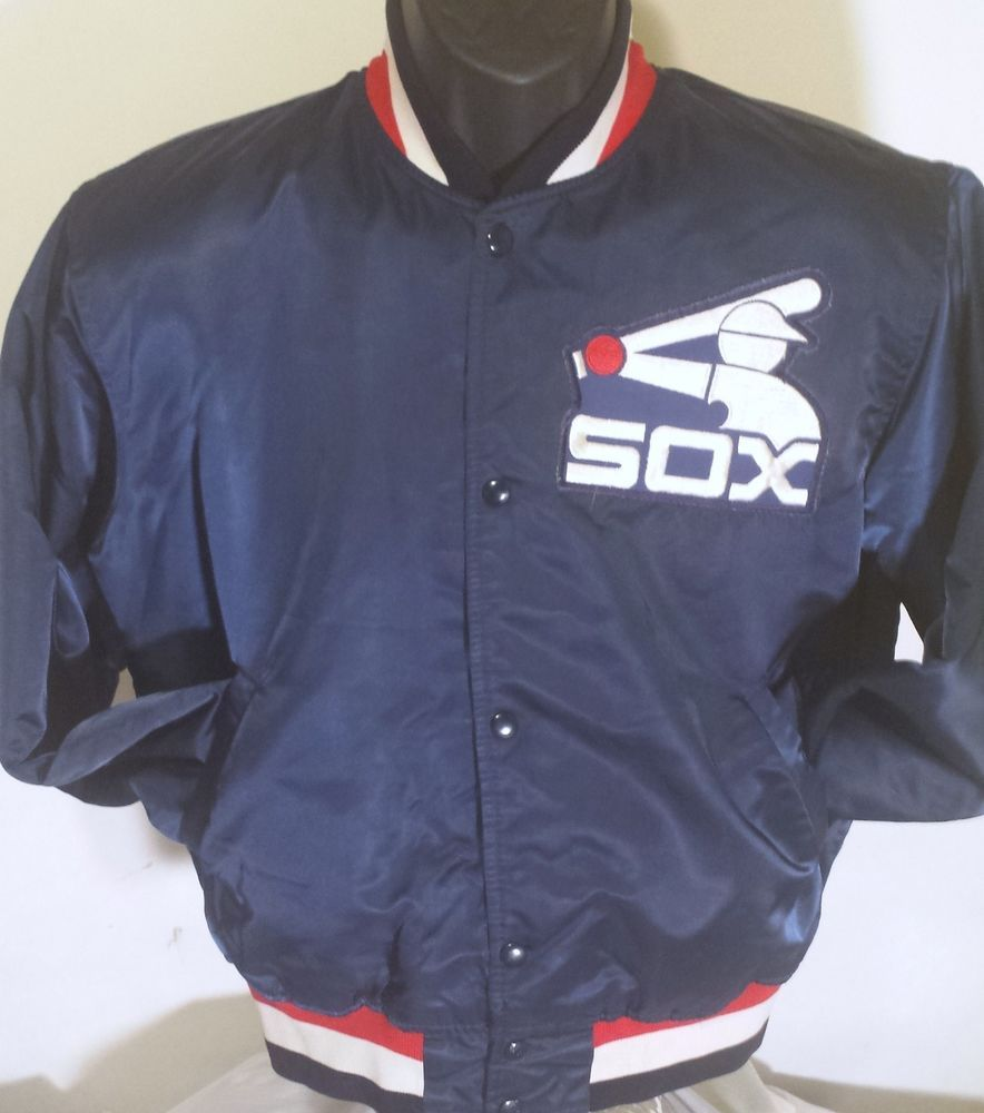 Vintage Chicago White Sox Mens Size Medium Satin Starter Jacket #Starter #ChicagoWhiteSox