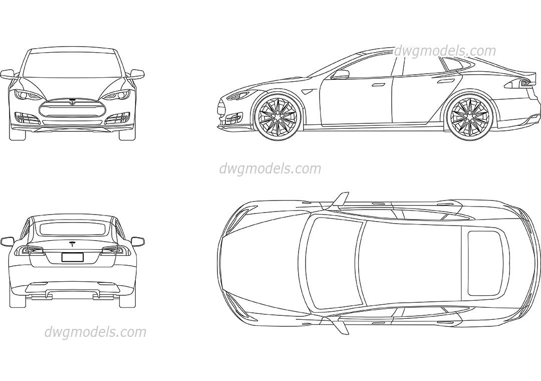 tesla model s cad blocks free dwg file cad blocks