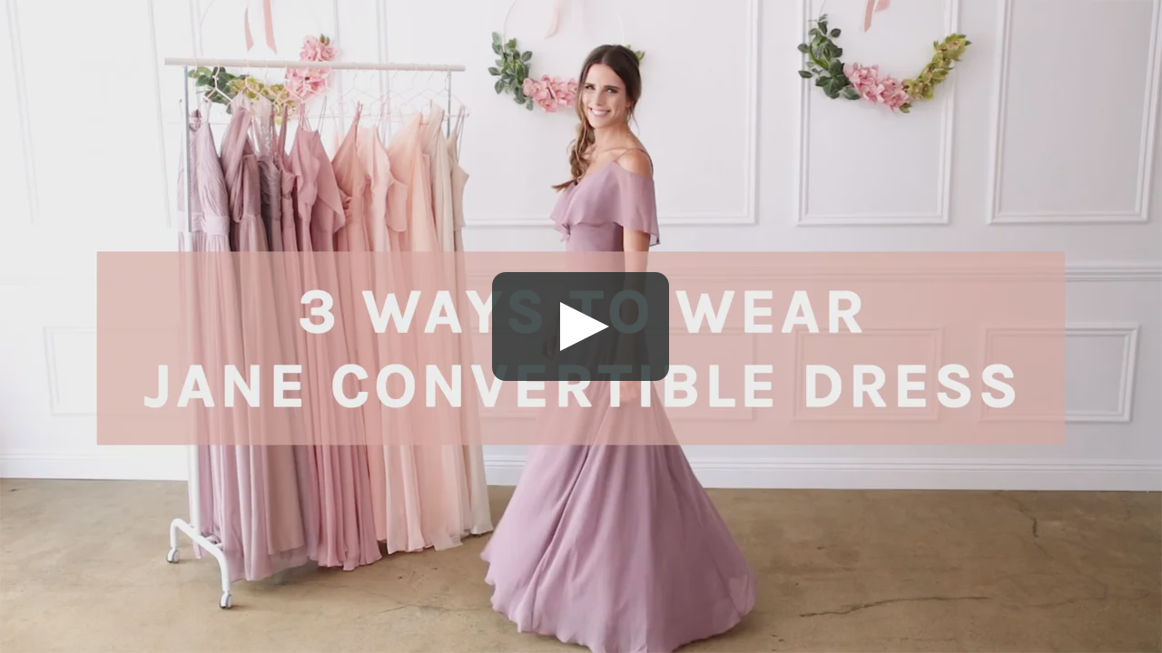 28145264e27 3 ways to wear Birdy Grey s Jane Convertible Bridesmaid Dress under  100.  This mauve chiffon bridesmaid dress can be worn as a cold shoulder