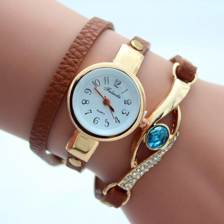 Gem Diamond-Encrusted Bracelet Watch