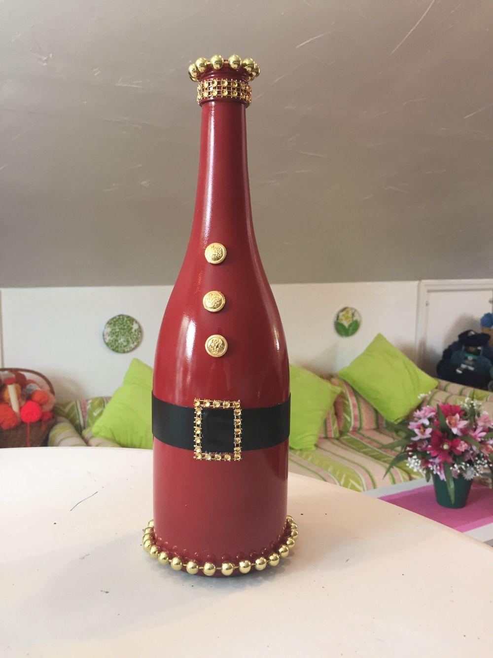 Dyi Recycled Wine Bottle Christmas Decor Remove Label From The Wine Bottle By So Wine Bottle Christmas Decorations Christmas Wine Bottles Bottles Decoration