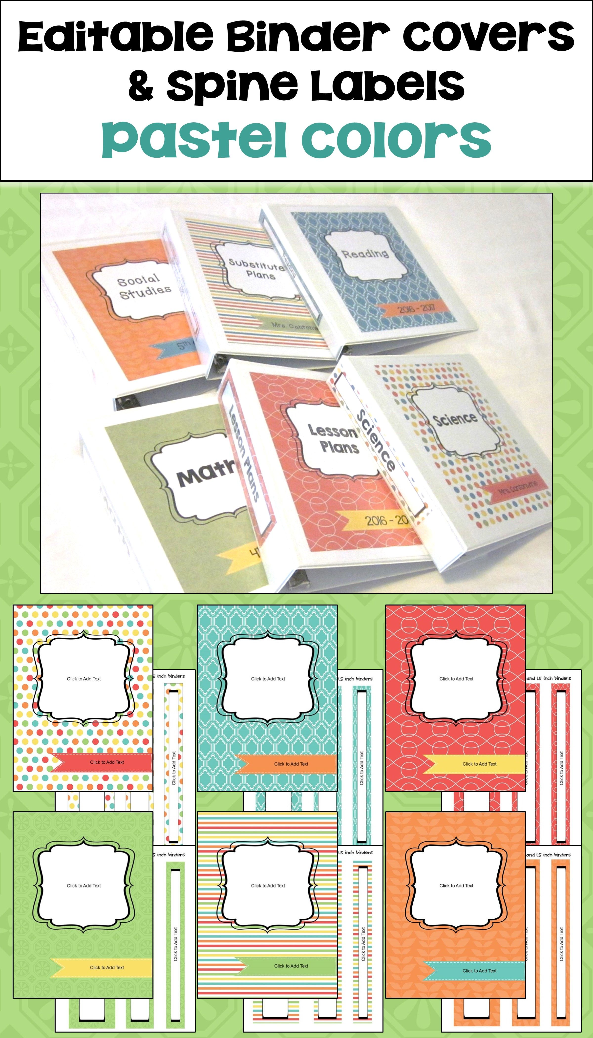 Editable Binder Covers And Spines In Pastel Colors Binder Labels