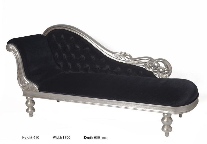 Surprising Black And Silver Chaise Black Magnolia French Furniture Theyellowbook Wood Chair Design Ideas Theyellowbookinfo